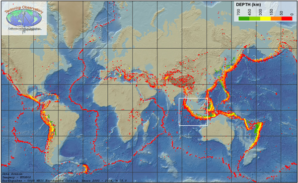 Global map of earthquakes